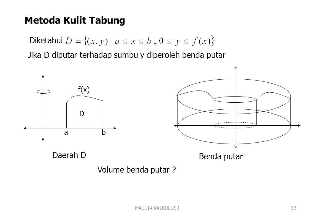 MA1114 KALKULUS I31 E. Hitung volume benda putar yang terjadi jika daerah yang di batasi oleh grafik fungsi-fungsi berikut diputar terhadap sumbu y 1.
