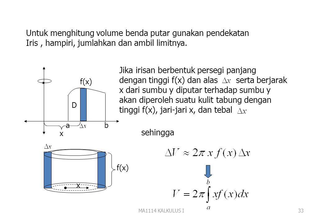 MA1114 KALKULUS I32 Metoda Kulit Tabung Diketahui f(x) a b D Jika D diputar terhadap sumbu y diperoleh benda putar Daerah D Benda putar Volume benda p