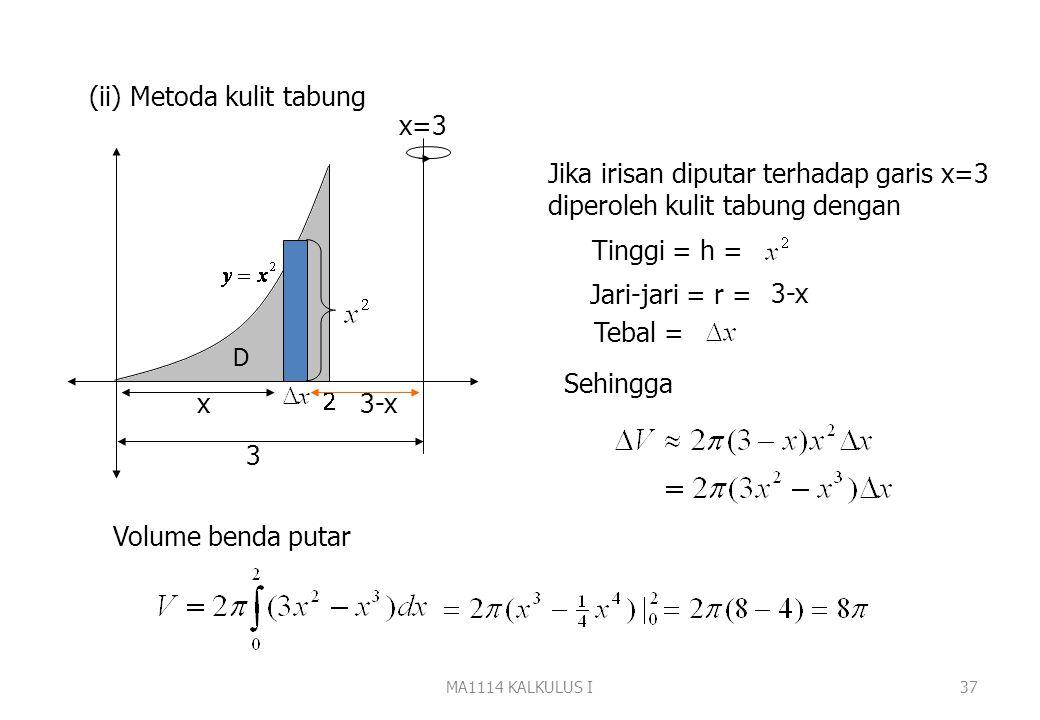 MA1114 KALKULUS I36 (ii) Metoda kulit tabung 2 D y=4 y Jika irisan diputar terhadap garis y=4 akan diperoleh kulit tabung dengan Jari-jari = r = Tingg