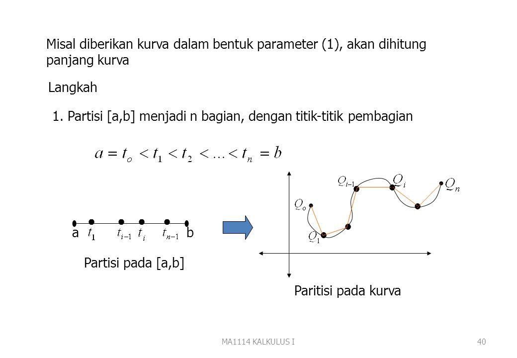 Panjang Kurva MA1114 KALKULUS I39 Persamaan parameter kurva dibidang x = f(t) y = g(t) Titik A(f(a),g(a)) disebut titik pangkal kurva dan titik B(f(b)