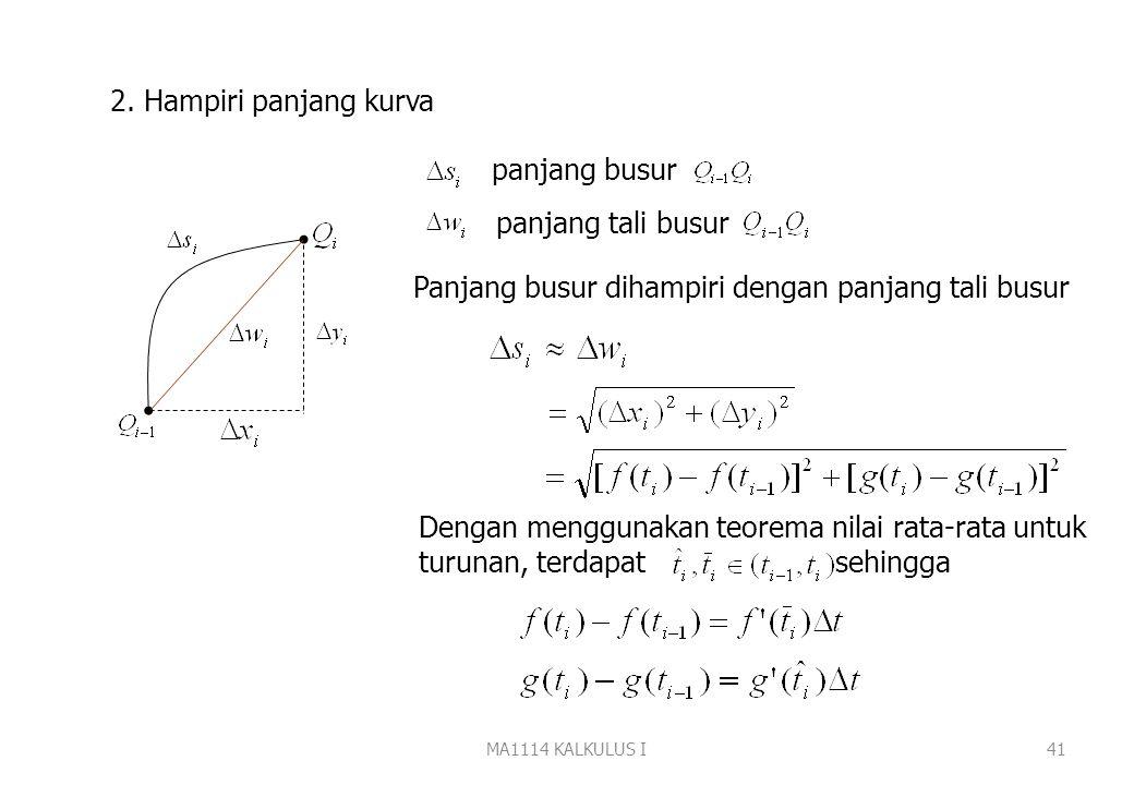 MA1114 KALKULUS I40 Misal diberikan kurva dalam bentuk parameter (1), akan dihitung panjang kurva Langkah 1. Partisi [a,b] menjadi n bagian, dengan ti