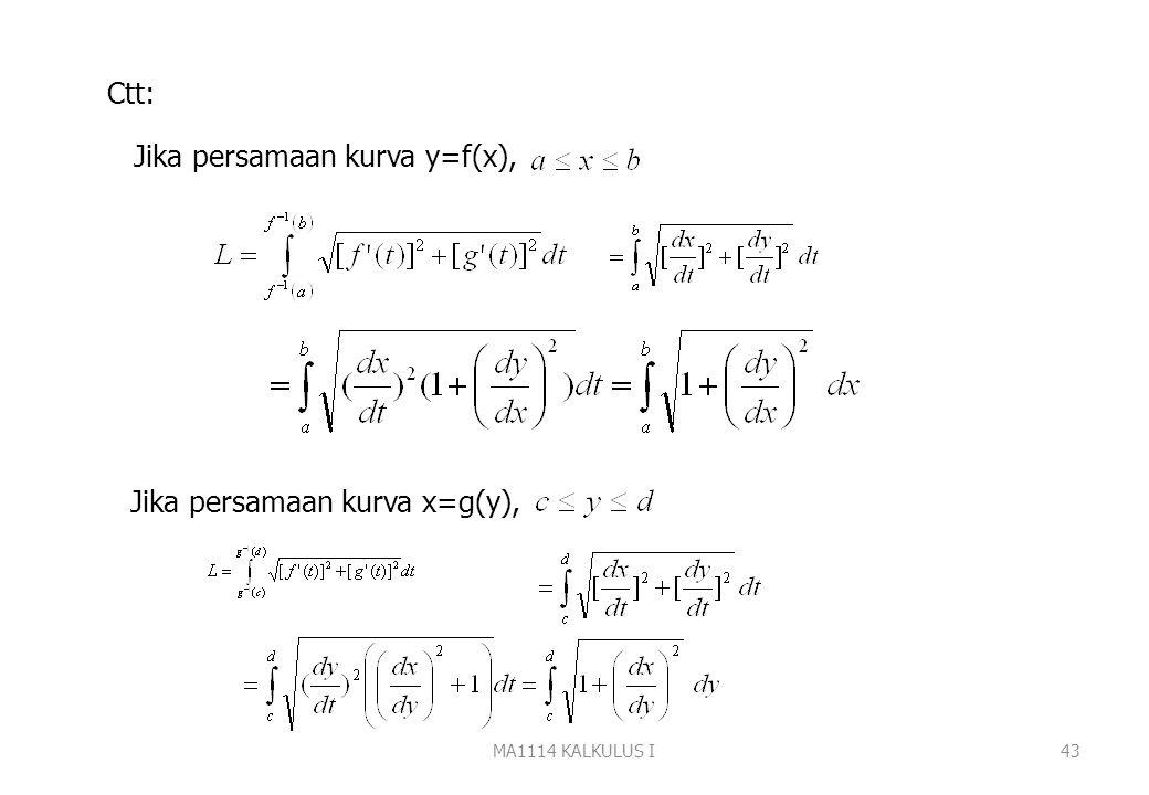 MA1114 KALKULUS I42 dengan sehingga Panjang kurva dihampiri oleh jumlah panjang tali busur Dengan mengambil panjang partisi(||P||) menuju nol diperole