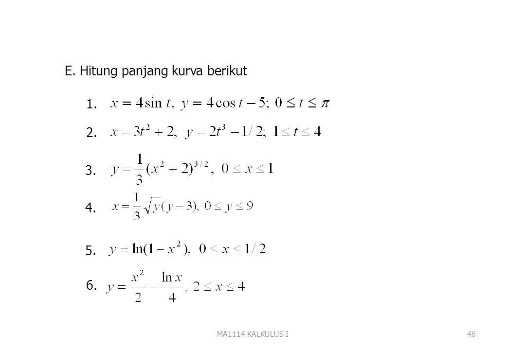 MA1114 KALKULUS I45 2. antara x =1/3 dan x=7 Jawab :