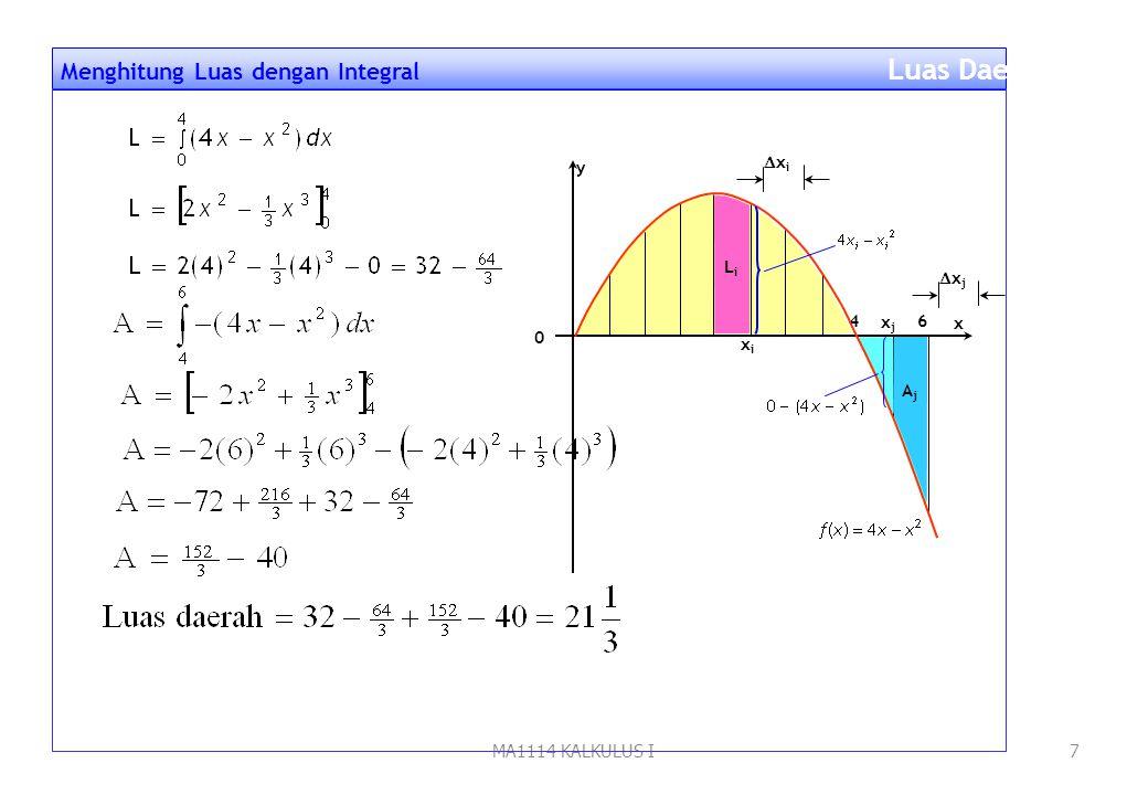 MA1114 KALKULUS I6 Langkah penyelesaian: 1.Gambar dan Partisi daerahnya 2.Aproksimasi : L i  (4x i - x i 2 )  x i dan A j  -(4x j - x j 2 )  x j 3