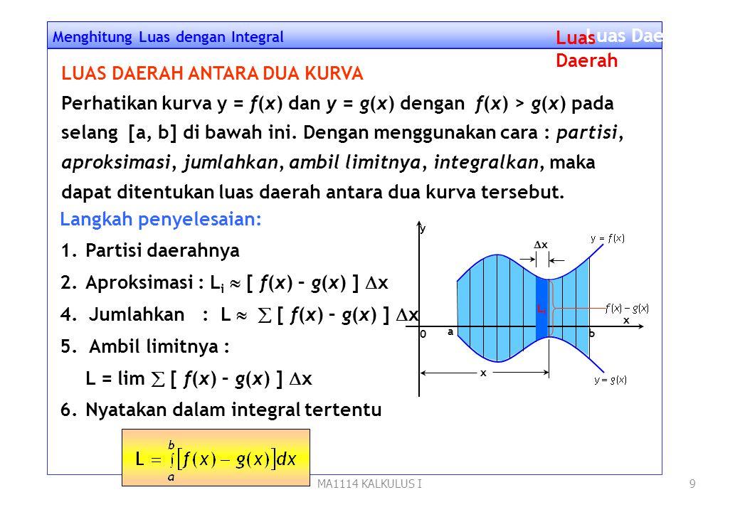 MA1114 KALKULUS I8 Menghitung Luas dengan Integral Luas Daerah Kesimpulan : y 0 x y x 0 xixi xixi yy