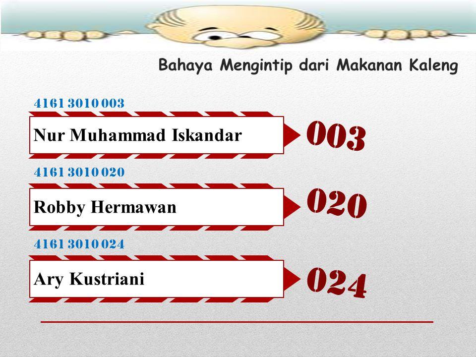 Bahaya Mengintip dari Makanan Kaleng 4161 3010 003 Nur Muhammad Iskandar 4161 3010 020 Robby Hermawan 4161 3010 024 Ary Kustriani 003 020 024