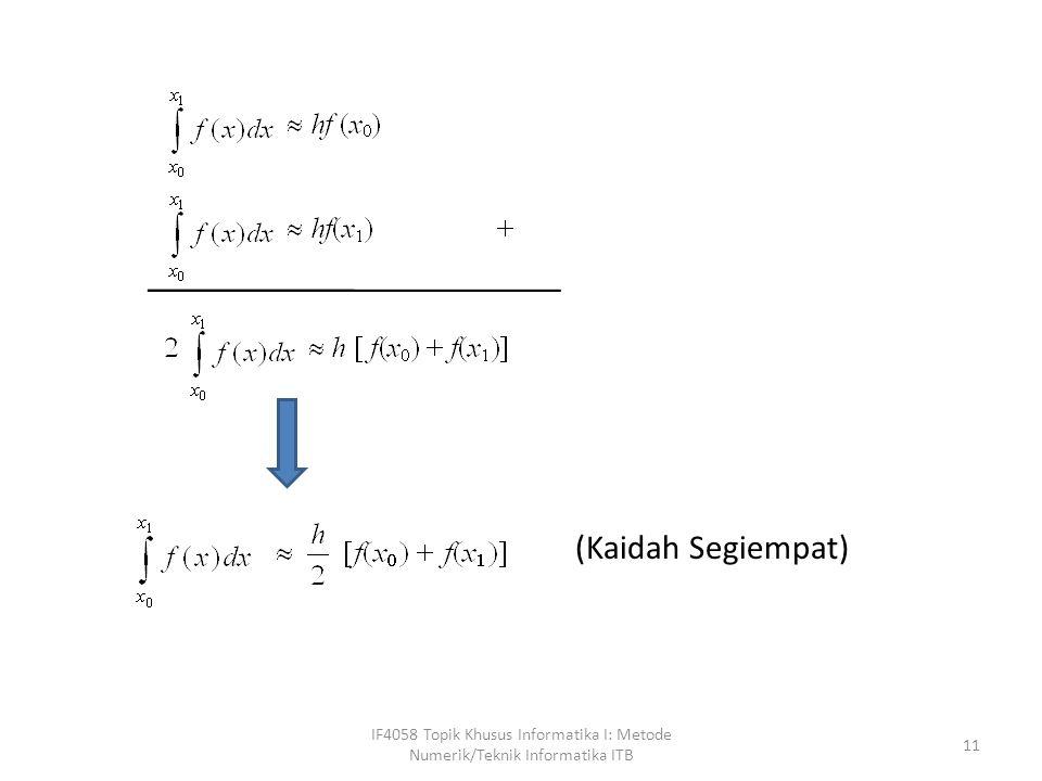 IF4058 Topik Khusus Informatika I: Metode Numerik/Teknik Informatika ITB 11 (Kaidah Segiempat)