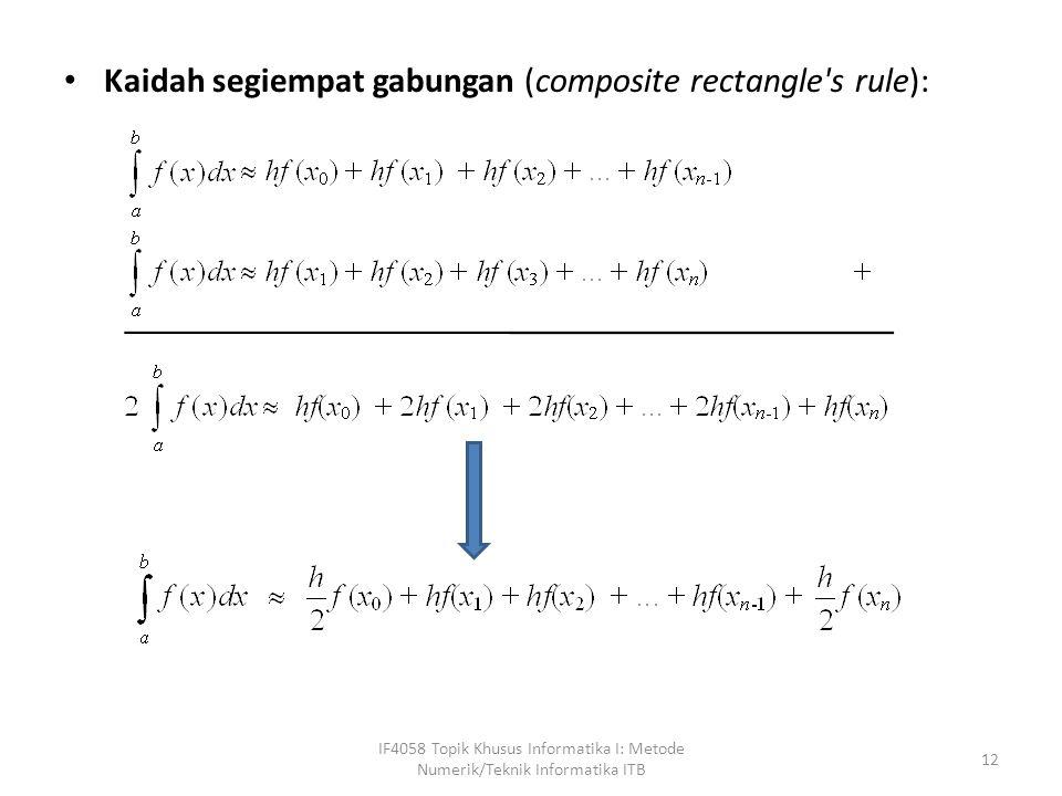 Kaidah segiempat gabungan (composite rectangle s rule): IF4058 Topik Khusus Informatika I: Metode Numerik/Teknik Informatika ITB 12