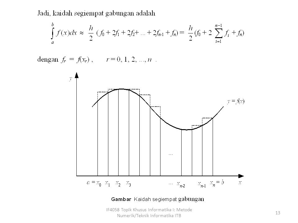 IF4058 Topik Khusus Informatika I: Metode Numerik/Teknik Informatika ITB 13