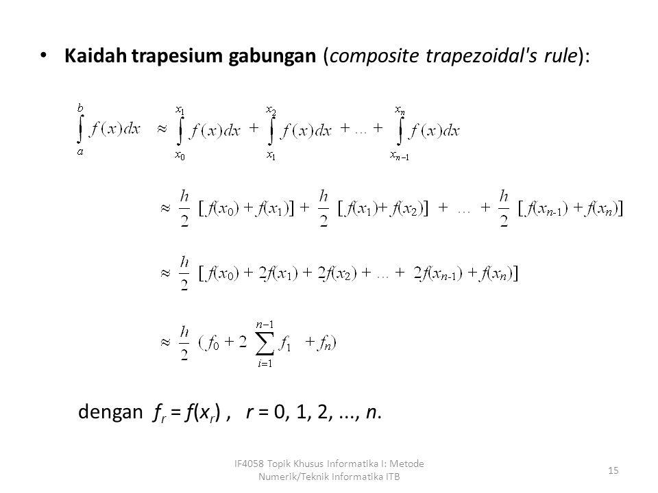 procedure trapesium(a, b : real; n: integer; var I : real); { Menghitung integrasi f(x) di dalam selang [a, b] dan jumlas pias adalah n dengan menggunakan kaidah trapesium.