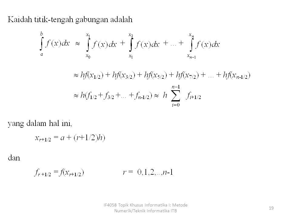 procedure titik_tengah(a, b : real; n: integer; var I : real); { menghitung integrasi f(x) dalam selang [a, b] dengan jumlah pias sebanyak n.