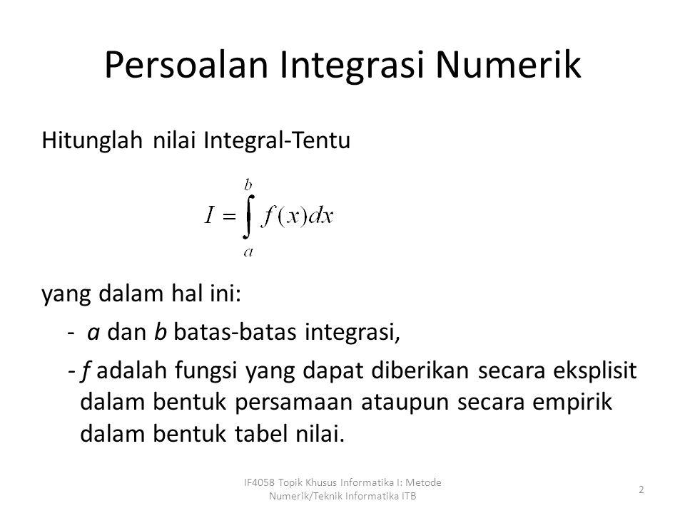 Persoalan Integrasi Numerik Hitunglah nilai Integral-Tentu yang dalam hal ini: - a dan b batas-batas integrasi, - f adalah fungsi yang dapat diberikan secara eksplisit dalam bentuk persamaan ataupun secara empirik dalam bentuk tabel nilai.