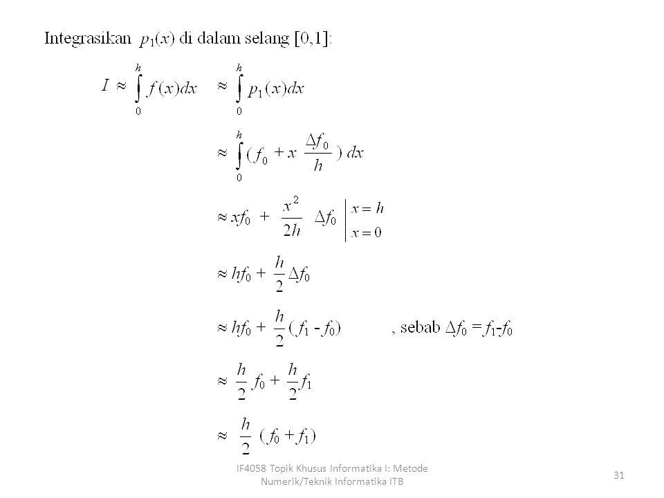 IF4058 Topik Khusus Informatika I: Metode Numerik/Teknik Informatika ITB 32 sama seperti yang diturunkan Dengan metode pias
