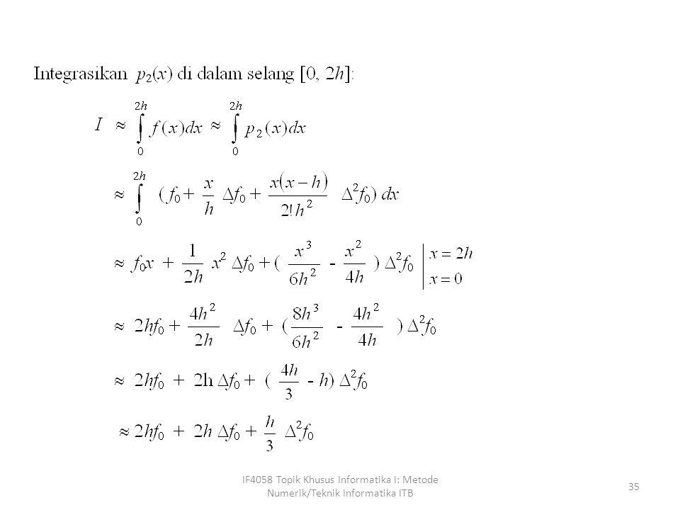IF4058 Topik Khusus Informatika I: Metode Numerik/Teknik Informatika ITB 36 (Kaidah Simpson 1/3)