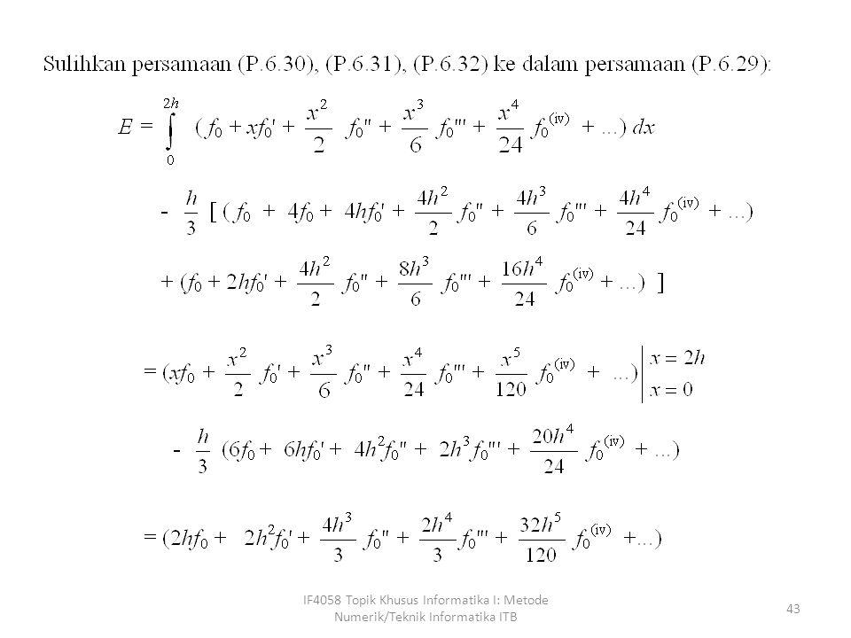IF4058 Topik Khusus Informatika I: Metode Numerik/Teknik Informatika ITB 43
