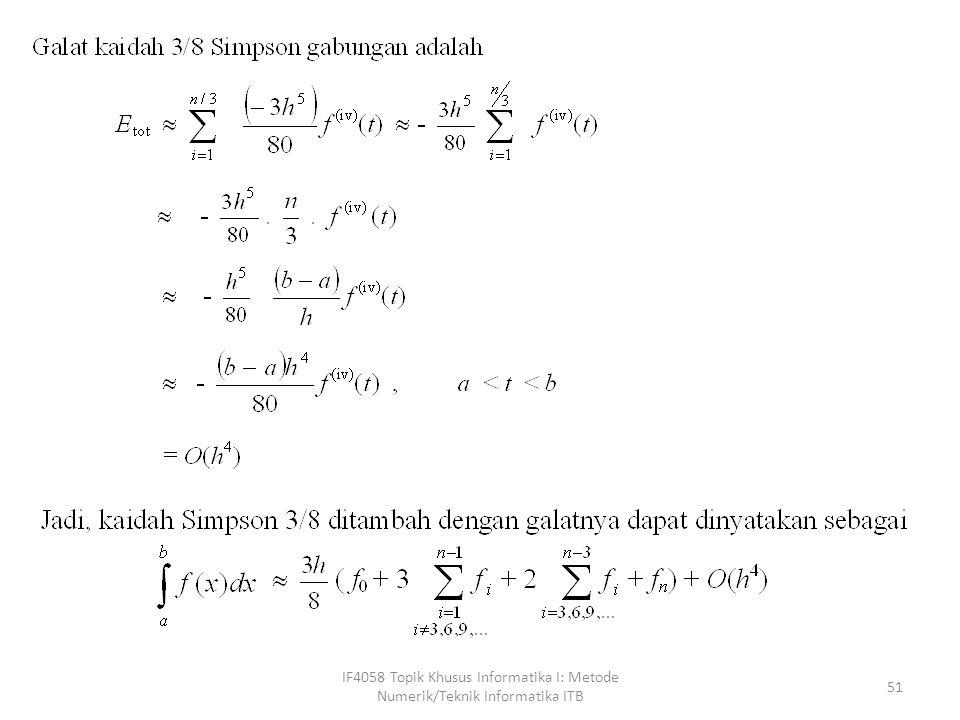 Metode Integrasi Numerik Untuk h yang Berbeda-beda IF4058 Topik Khusus Informatika I: Metode Numerik/Teknik Informatika ITB 52
