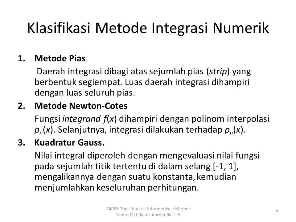 Klasifikasi Metode Integrasi Numerik 1.Metode Pias Daerah integrasi dibagi atas sejumlah pias (strip) yang berbentuk segiempat.