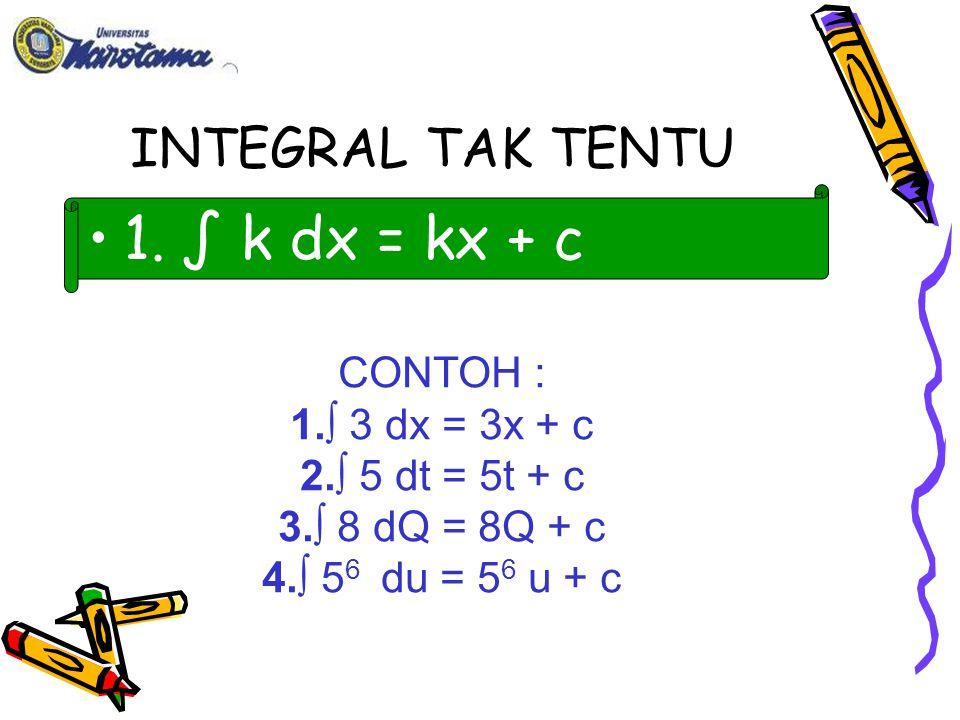 CONTOH : 1.∫ 4X 3 dx = 4 x 4 + c = x 4 + c 4 2. ∫ 3x 8 dx = 3 x 9 + c =1/3X 9 + C 9 2.