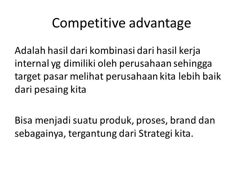 Adalah hasil dari kombinasi dari hasil kerja internal yg dimiliki oleh perusahaan sehingga target pasar melihat perusahaan kita lebih baik dari pesain