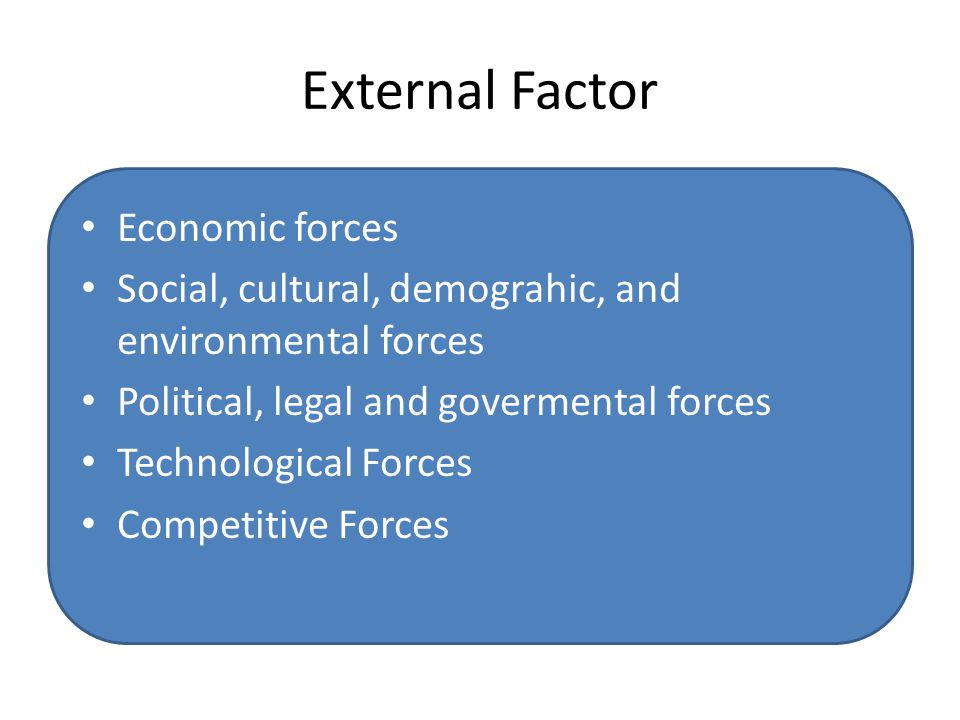 External Factor Economic forces Social, cultural, demograhic, and environmental forces Political, legal and govermental forces Technological Forces Co