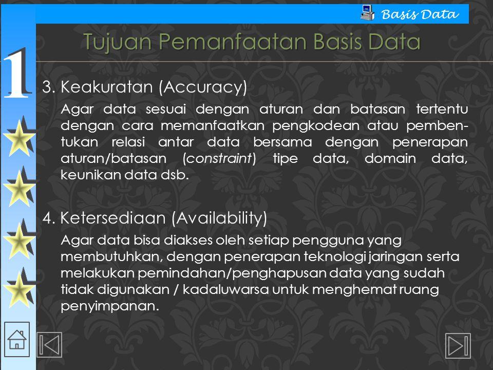 1 1 Basis Data Tujuan Pemanfaatan Basis Data 3. Keakuratan (Accuracy) Agar data sesuai dengan aturan dan batasan tertentu dengan cara memanfaatkan pen