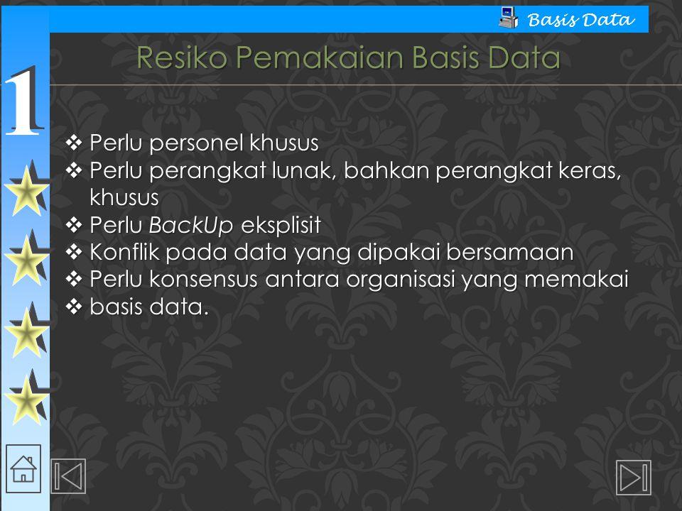 1 1 Basis Data Resiko Pemakaian Basis Data  Perlu personel khusus  Perlu perangkat lunak, bahkan perangkat keras, khusus  Perlu BackUp eksplisit 