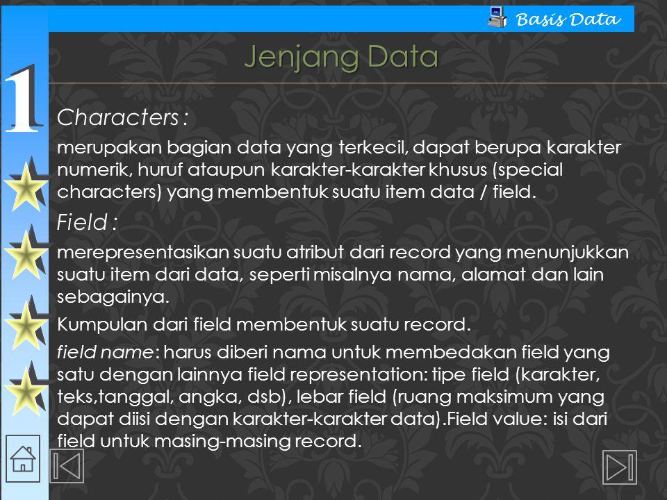1 1 Basis Data Jenjang Data Characters : merupakan bagian data yang terkecil, dapat berupa karakter numerik, huruf ataupun karakter-karakter khusus (s