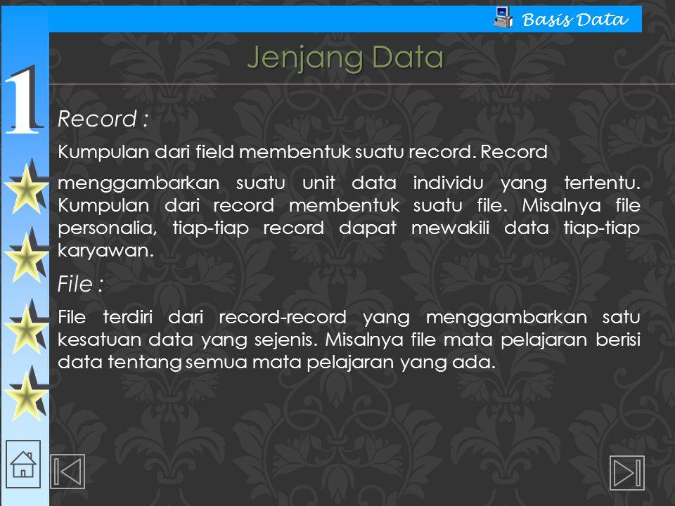 1 1 Basis Data Jenjang Data Record : Kumpulan dari field membentuk suatu record. Record menggambarkan suatu unit data individu yang tertentu. Kumpulan