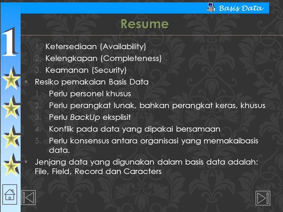 1 1 Basis Data 1.Ketersediaan (Availability) 2.Kelengkapan (Completeness) 3.Keamanan (Security)  Resiko pemakaian Basis Data 1.Perlu personel khusus