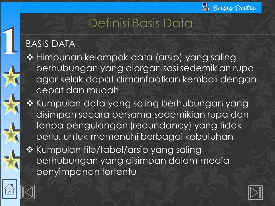 1 1 Basis Data Definisi Basis Data BASIS DATA  Himpunan kelompok data (arsip) yang saling berhubungan yang diorganisasi sedemikian rupa agar kelak da