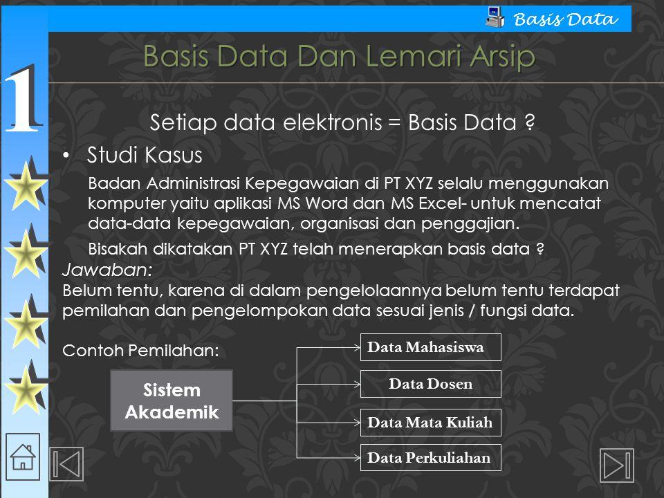 1 1 Basis Data Basis Data Dan Lemari Arsip Setiap data elektronis = Basis Data ? Studi Kasus Badan Administrasi Kepegawaian di PT XYZ selalu menggunak