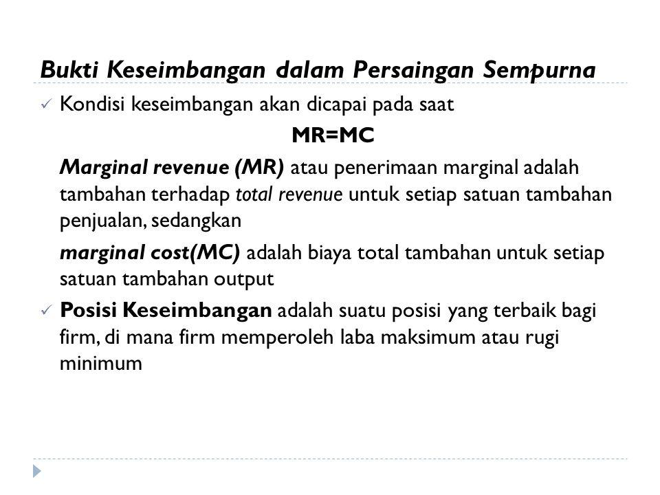 Bukti Keseimbangan dalam Persaingan Sempurna Kondisi keseimbangan akan dicapai pada saat MR=MC Marginal revenue (MR) atau penerimaan marginal adalah t