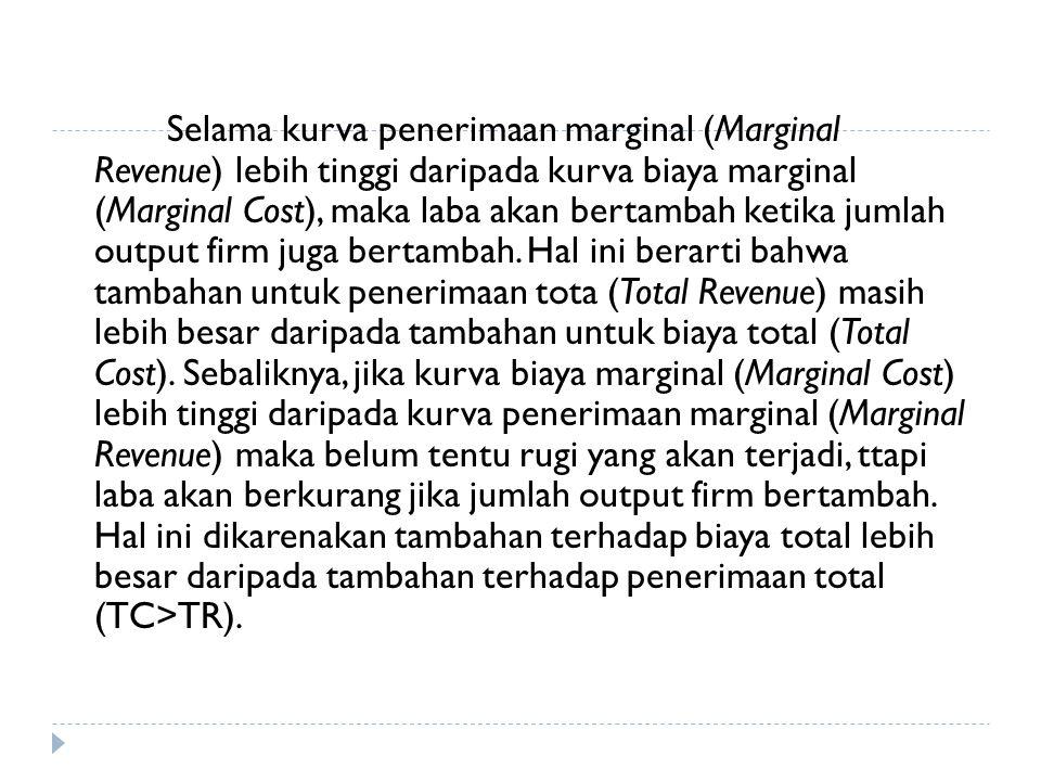 Selama kurva penerimaan marginal (Marginal Revenue) lebih tinggi daripada kurva biaya marginal (Marginal Cost), maka laba akan bertambah ketika jumlah