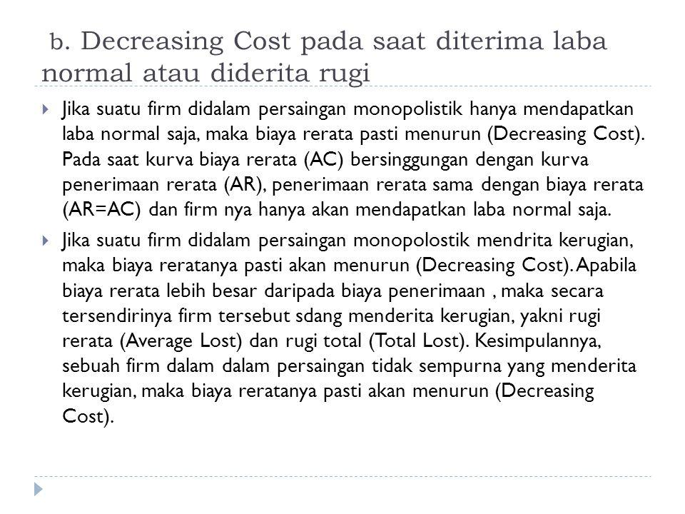 b. Decreasing Cost pada saat diterima laba normal atau diderita rugi  Jika suatu firm didalam persaingan monopolistik hanya mendapatkan laba normal s