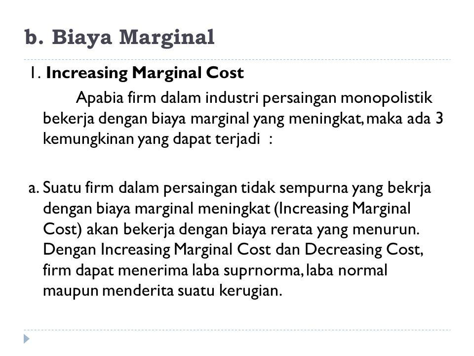 b. Biaya Marginal 1. Increasing Marginal Cost Apabia firm dalam industri persaingan monopolistik bekerja dengan biaya marginal yang meningkat, maka ad