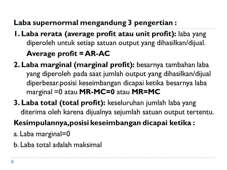 Laba supernormal mengandung 3 pengertian : 1. Laba rerata (average profit atau unit profit): laba yang diperoleh untuk setiap satuan output yang dihas