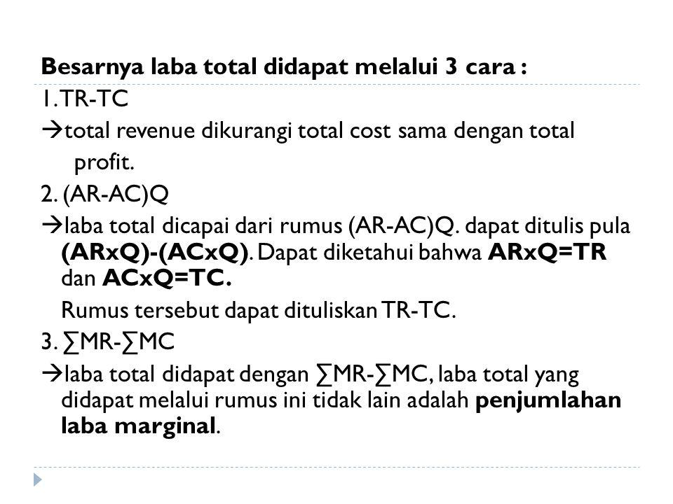 Besarnya laba total didapat melalui 3 cara : 1. TR-TC  total revenue dikurangi total cost sama dengan total profit. 2. (AR-AC)Q  laba total dicapai