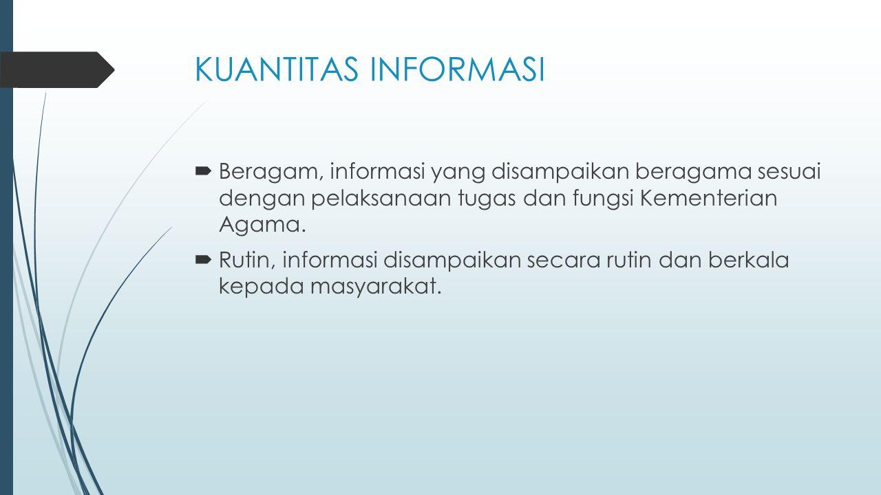 KUANTITAS INFORMASI  Beragam, informasi yang disampaikan beragama sesuai dengan pelaksanaan tugas dan fungsi Kementerian Agama.  Rutin, informasi di