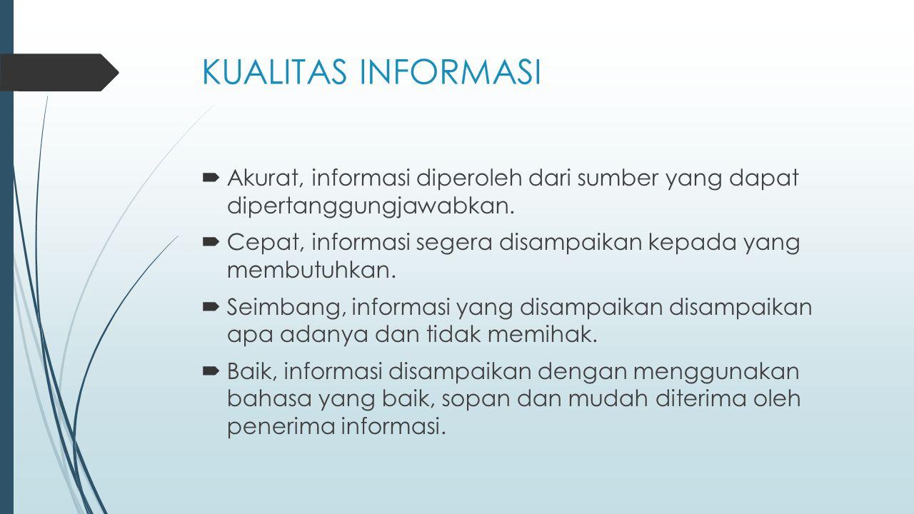 KUALITAS INFORMASI  Akurat, informasi diperoleh dari sumber yang dapat dipertanggungjawabkan.  Cepat, informasi segera disampaikan kepada yang membu