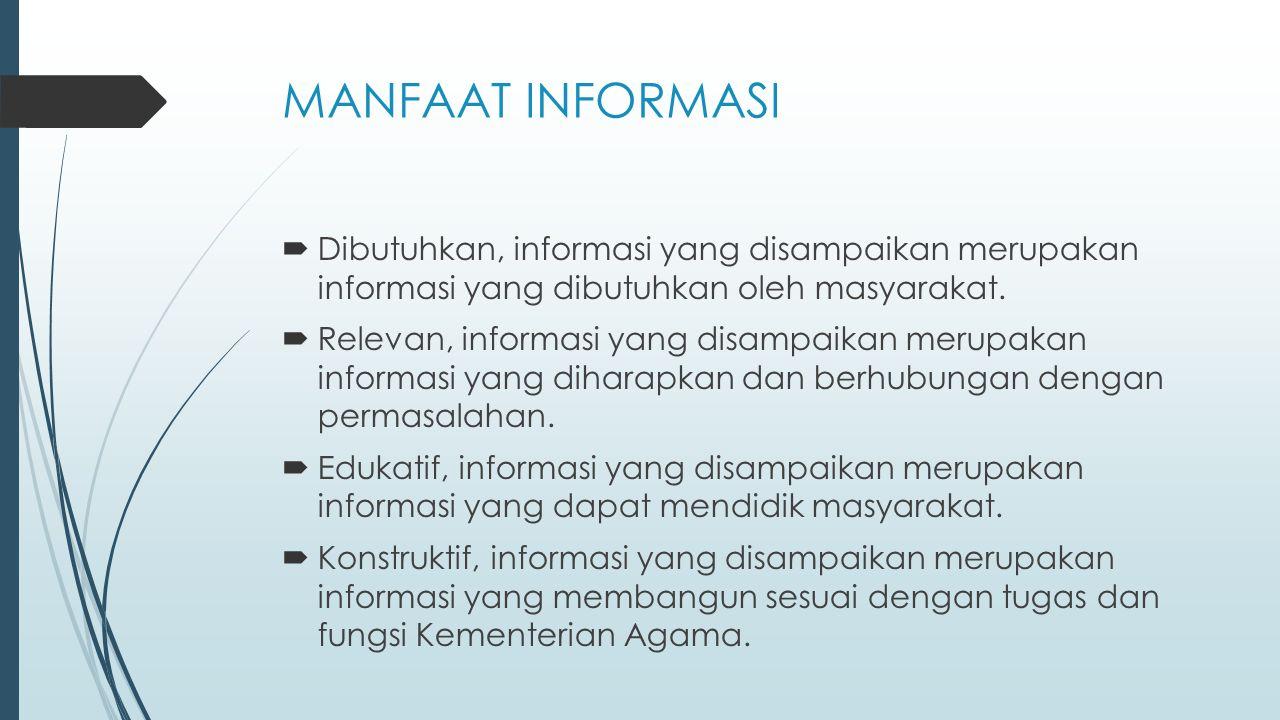 MANFAAT INFORMASI  Dibutuhkan, informasi yang disampaikan merupakan informasi yang dibutuhkan oleh masyarakat.  Relevan, informasi yang disampaikan