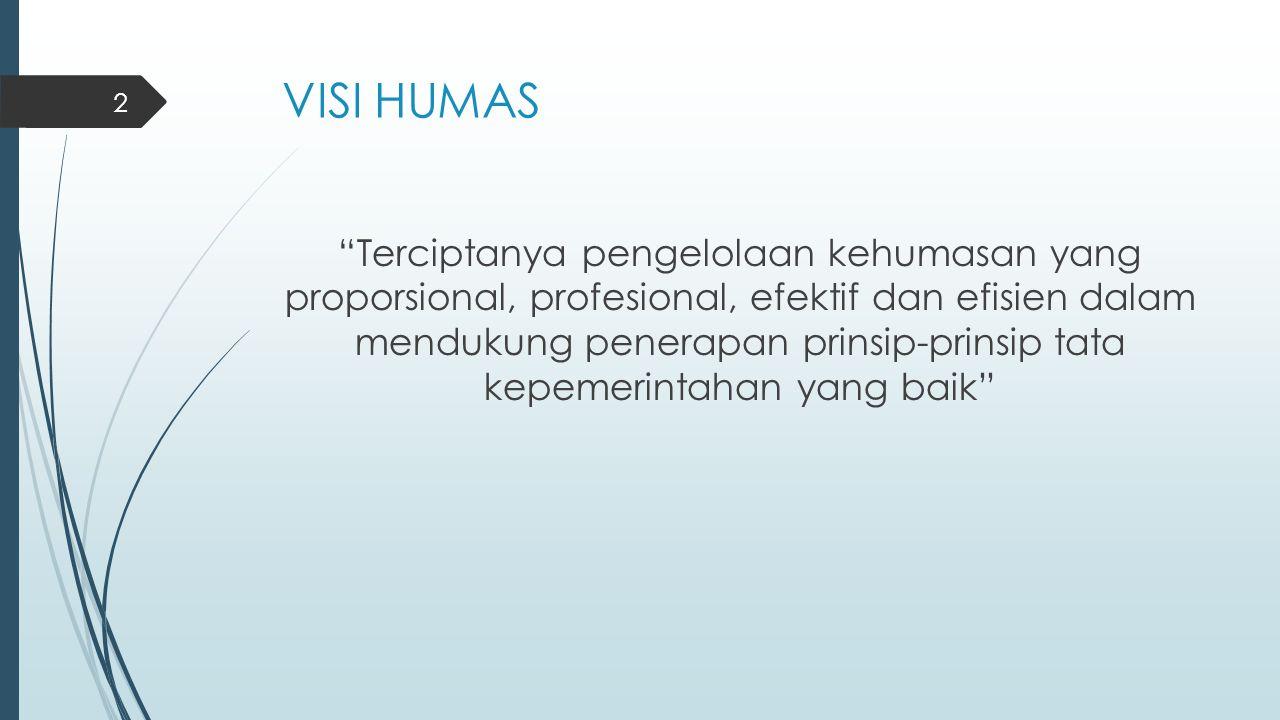 """VISI HUMAS """"Terciptanya pengelolaan kehumasan yang proporsional, profesional, efektif dan efisien dalam mendukung penerapan prinsip-prinsip tata kepem"""