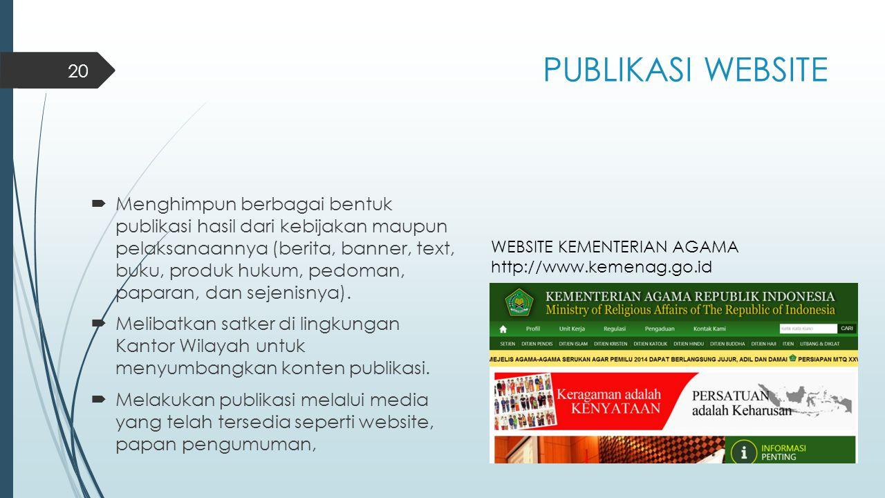 PUBLIKASI WEBSITE  Menghimpun berbagai bentuk publikasi hasil dari kebijakan maupun pelaksanaannya (berita, banner, text, buku, produk hukum, pedoman