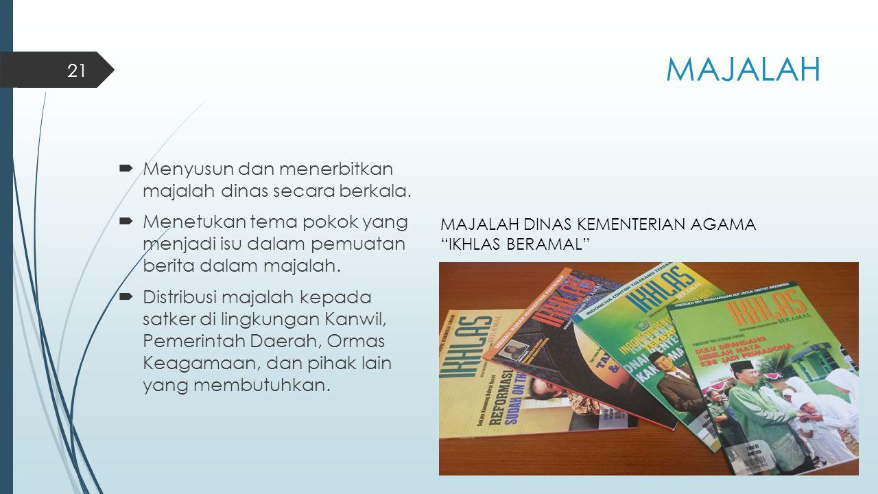 MAJALAH  Menyusun dan menerbitkan majalah dinas secara berkala.  Menetukan tema pokok yang menjadi isu dalam pemuatan berita dalam majalah.  Distri