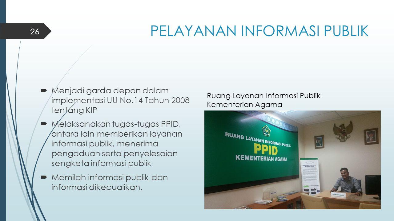 PELAYANAN INFORMASI PUBLIK  Menjadi garda depan dalam implementasi UU No.14 Tahun 2008 tentang KIP  Melaksanakan tugas-tugas PPID, antara lain membe