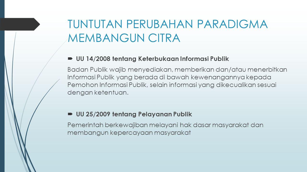 TUNTUTAN PERUBAHAN PARADIGMA MEMBANGUN CITRA  UU 14/2008 tentang Keterbukaan Informasi Publik Badan Publik wajib menyediakan, memberikan dan/atau men