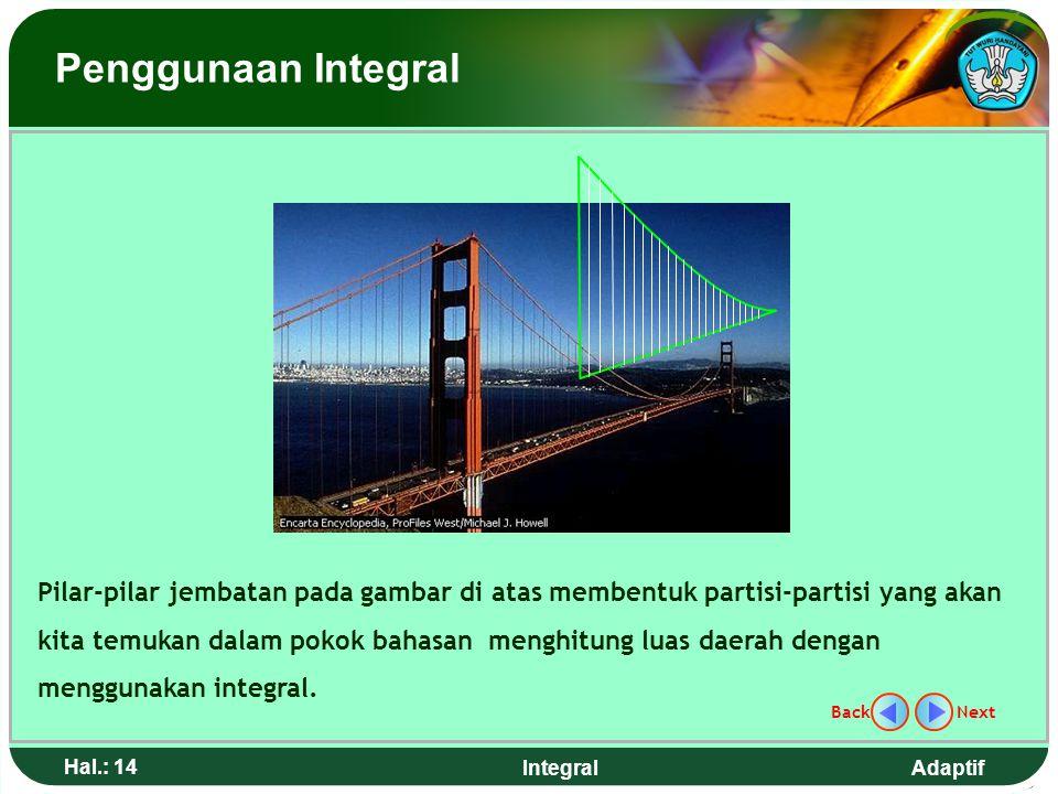 Adaptif Hal.: 13 Integral Runtuhnya Jembatan Tacoma, Washington Jembatan Tacoma yang panjangnya 1,8 km di buka pada 1Juli 1940. Empat bulan kemudian j