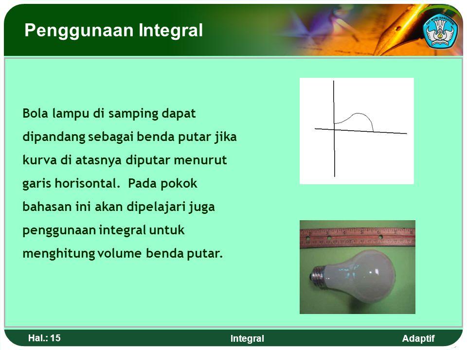 Adaptif Hal.: 14 Integral Pilar-pilar jembatan pada gambar di atas membentuk partisi-partisi yang akan kita temukan dalam pokok bahasan menghitung lua