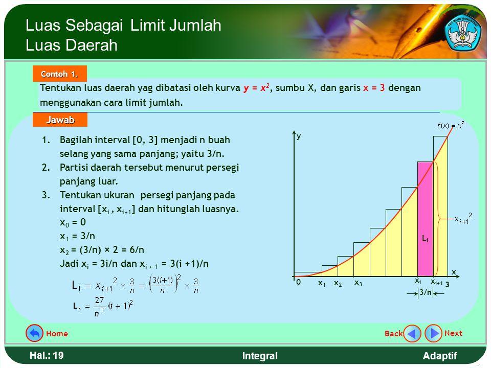Adaptif Hal.: 18 Integral Langkah menghitung luas daerah ( lanjutan ) : 5. Tentukan luas persegi panjang ke-i (L i ) 6. Jumlahkah luas semua persegi p