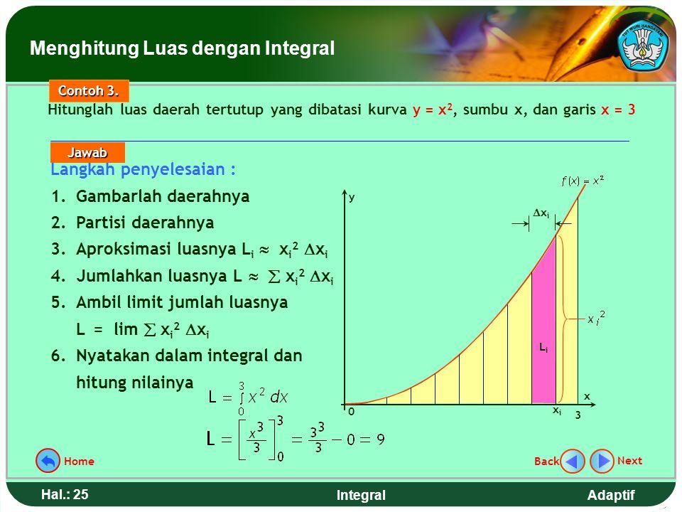 Adaptif Hal.: 24 Integral Kegiatan pokok dalam menghitung luas daerah dengan integral tentu adalah: 1. Gambar daerahnya. 2. Partisi daerahnya 3. Aprok