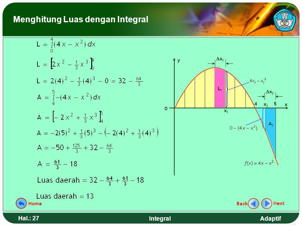 Adaptif Hal.: 26 Integral Langkah penyelesaian: 1.Gambar dan Partisi daerahnya 2.Aproksimasi : L i  (4x i - x i 2 )  x i dan A j  -(4x j - x j 2 )